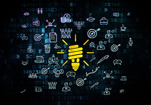Business concept: Pixelated yellow Energy Saving Lamp icon on Digital background with  Hand Drawn Business Icons, 3d render
